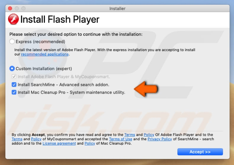 sequestrador de navegador incluído no instalador falso do flash player
