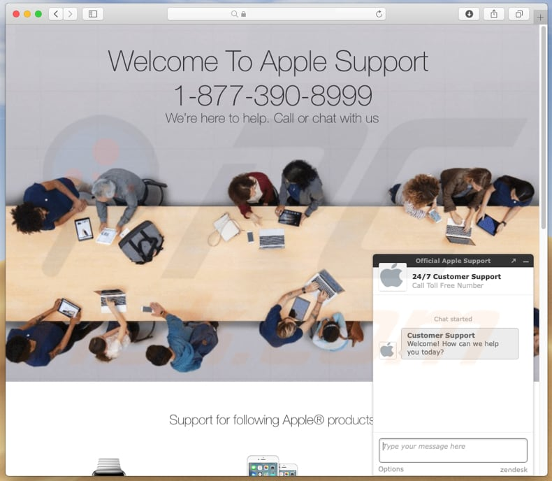 Fraude da segunda página You have been redirected to Apple Support