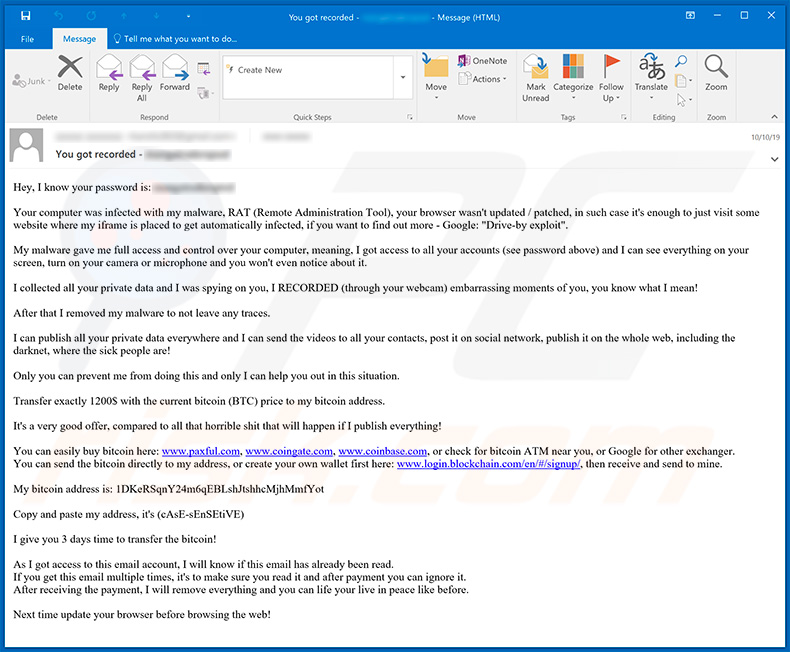 fraude email Your computer was infected with my malware