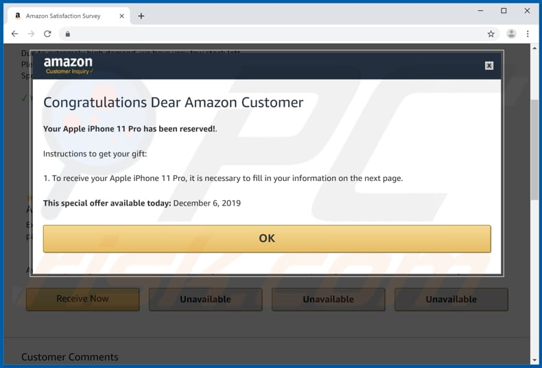 quinta página da fraude congratulations dear amazon customer