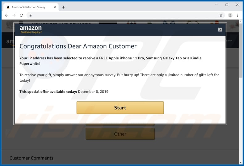 fraude Congratulations Dear Amazon Customer