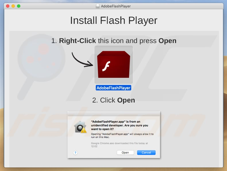 instalador falso do Adobe Flash Player