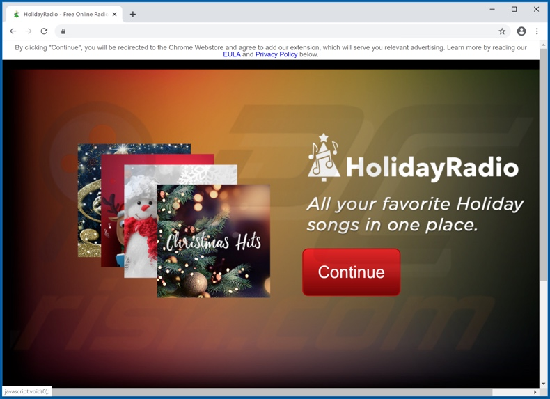 Site que promove o adware Holiday Radio Promos