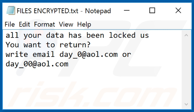 ficheiro de texto do ransomware 0day0 (FILES ENCRYPTED.txt)