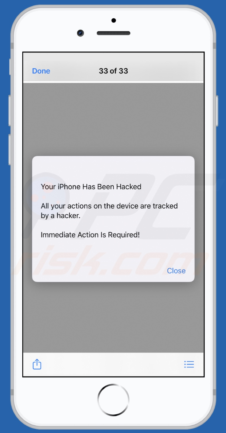 Your iPhone Has Been Hacked scam
