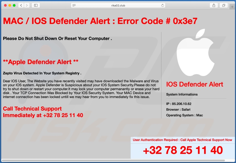 Página de plano de fundo da fraude do IOS/MAC Defender Alert