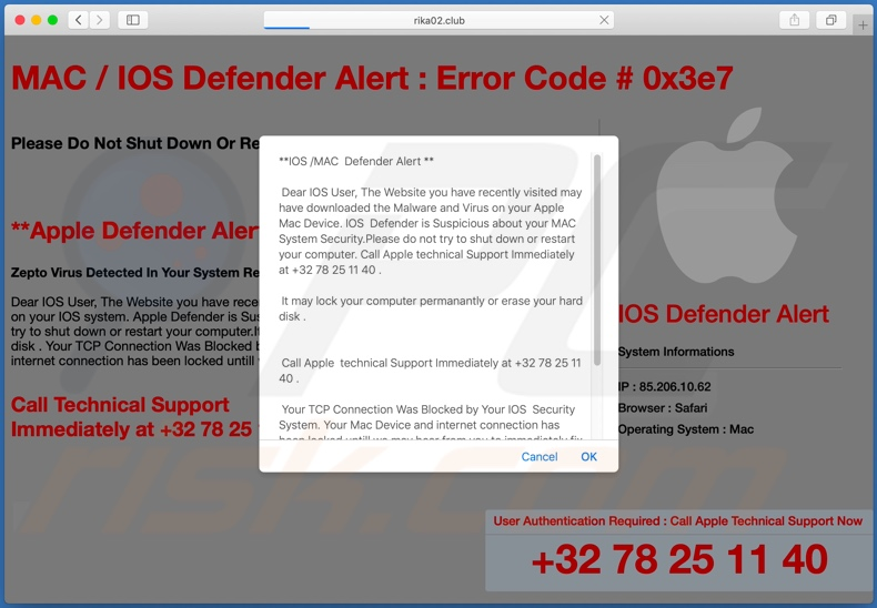 Fraude IOS /MAC Defender Alert