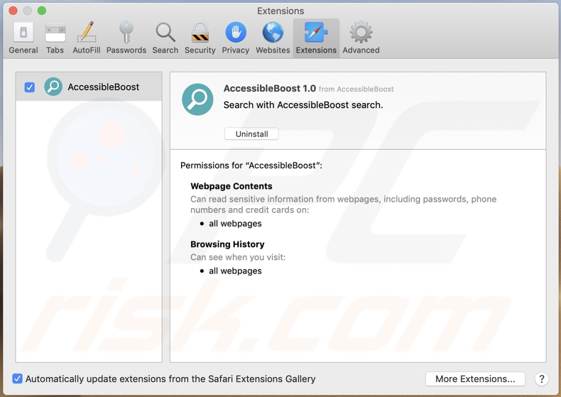 Adware AccessibleBoost instalado no Safari