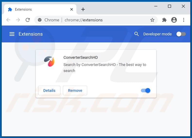 Removendo as extensões do Google Chrome relacionadas a convertersearchhd.com