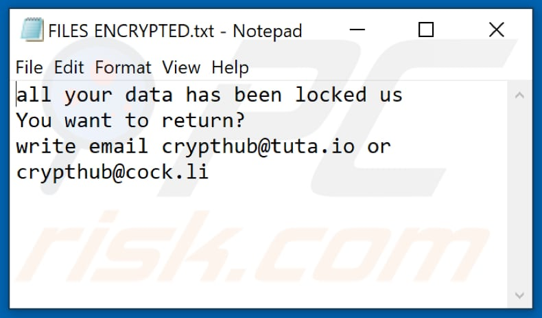 Ficheiro de texto do ransomware Hub (FILES ENCRYPTED.txt)
