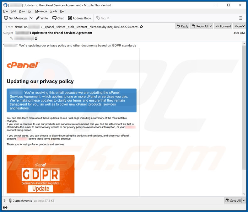 Variante do e-mail da fraude cPanel