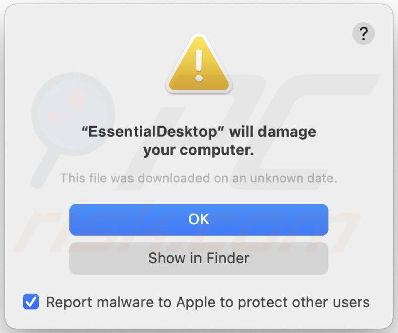 Pop-up exibido quando o adware EssentialDesktop é instalado