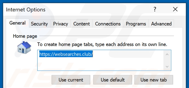 Removendo websearches.club da página inicial do Internet Explorer