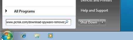 download remover using run dialog windows 7